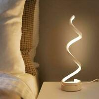 LED Bedside Spiral Table Lamps Creative Design Curved Warm Light White C5S4