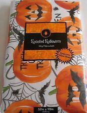 """Haunted Halloween Vinyl Tablecloth TRICK OR TREAT/PUMPKINS 52"""" x 90"""" Seats 6-8"""