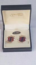 Stratton of London Cufflinks Boxed Oval Enamelled Red & Purple on Gold No24