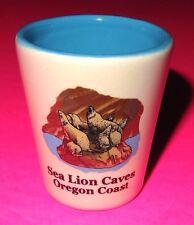 """SEA LION CAVES OREGON COAST"" ON BOTH SIDES OF GLAZED CERAMIC SHOT GLASS, 2-3/8"""