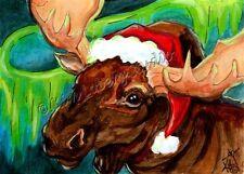 Santa Moose original ACEO mini Loberg art Christmas fantasy painting North Pole