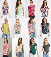 M&S Marks Spencer Women FLORAL ROUND Neck Short Sleeve T Shirt Blouse Top 8-24