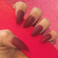 Hand Painted Full Cover False Nails. Stiletto Matte Berry Red Nails. 24 Nail Set
