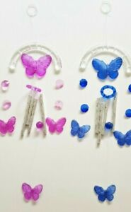 BUTTERFLY ARCH WIND CHIME MOBILE, BLUE OR PURPLE, INDOORS OR IN THE GARDEN 40cm