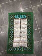 VINTAGE Lino Verde piccolo asciugamani 1976 CALENDARIO persiano design by Ulster
