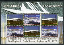 Nevis 2007 MNH Concorde 02 Washington Paris Record 6v M/S Eiffel Tower Stamps