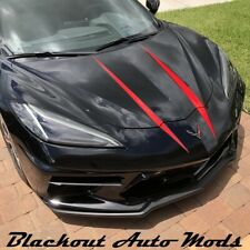 2020 C8 Corvette Hood Spears Vinyl Graphics Decals - RED