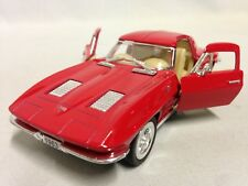 """1963 Chevy Corvette Sting Ray 5"""" Die Cast Car 1:36 Pull Back Kinsmart Toy Red"""