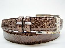 Sterling silver 925 buckle with 30 mm Genuine Ostrich belt size 26 to 46 U.S.A.