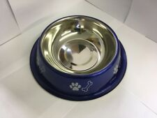 Stainless Steel Blue Puppy Dogs All Ages Bowl Feeding Pet Food Feeder Dish