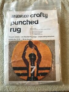 PATONS CRAFTY PUNCHED RUG STENCILLED DESIGN FOOTBALL, VINTAGE, 90 CM DIAMETER