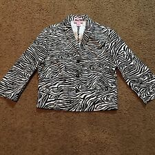 Bandolino Stretch Women's Jacket 16 Zebra Striped Black White