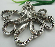Wholesale free ship 6pcs tibet silver octopus charms 59x56mm