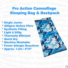 Pro Action Single Junior 200GSM Sleeping Bag/Backpack Combo in Camouflage Blue