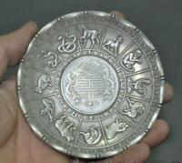 Collectible Decorate Old Tibet Silver Chinese animal 12 Zodiac Gossip Coin Plate