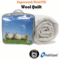 Machine Washable 350gsm HealthGuard AUSTRALIAN WOOL Quilt Doona Duvet - DOUBLE
