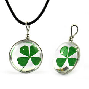 Necklace 3D 4 Flaky Real Clover Chain Pendant Charm