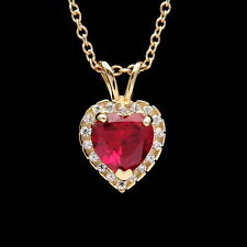 1CT Halo Red Ruby Heart Created Diamond Pendant Solid 14k Yellow Gold Charm