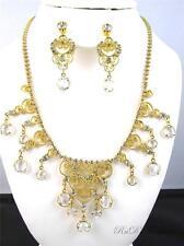 Vintage JULIANA Clear Rhinestone Heart FILIGREE Necklace & Clip On Earrings SET