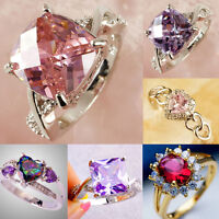 Women Rhinestone Crystal pink, Amethyst Zircon Ring white gold filled Jewelry