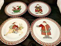 Sakura Oneida 2001 Debbie Mumm SANTA'S SPIRIT Christmas 4 Salad Plates