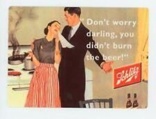 Schlitz Metal Beer Sign - Banned 1950s Sexist Bier Ad