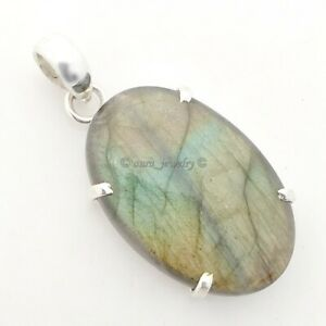Natural Labradorite Gemstone Solid 925 Sterling Silver Pendant Necklace Jewelry