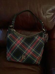 NWT Dooney & Bourke Black Tartan Plaid Large Erica Nylon Shoulder Bag