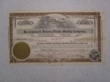 Re-organized Victory Divide Mining Company  1921 Nevada Corporation