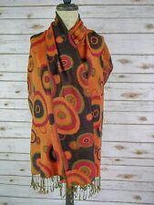 Pashmina Modernist Circles Brown Orange Shawl Scarf Wrap Silk and Cashmere Wool