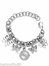NEW GUESS BUTTERFLY CHARMS SILVER TONE BRACELET LADY'S WATCH W11534L1