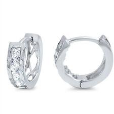 Round Cubic Zirconia Huggie  .925 Sterling Silver Earrings