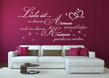 Wandtattoo Spruch Liebe ist Armen Küssen einzuschlafen 180cm x 95cm WA-192P