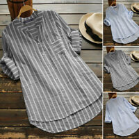 Women Long Sleeve Stripe Shirt V Neck Buttons Down Loose Asym Hem Blouse Plus