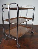 60er Dinett Servierwagen 3er Teewagen Tisch Beistelltisch Nussbaum Chrom 70er