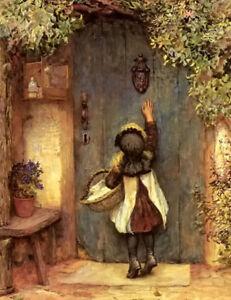 Dream-art Oil painting arthur hopkins the visitor little girl Knock on the door