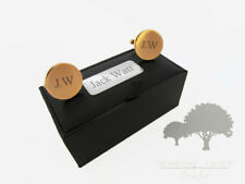 Engraved round Rose Gold Cuff links & Personalised Gift Box wedding gift rgclr13