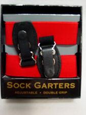 Mens Double Grip Elastic Sock Garters Adjustable Double Grip Pair Red in box