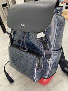 Michael Kors Signature Cooper Rucksack Backpack Coated Canvas Blue / Red $495