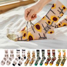 1 Pair Transparent Ultrathin Women Crystal Silk Ankle Socks Elastic Lace Socks