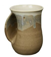 Hand Warmer Mug Desert Sand Left Hand Tan by Clay In Motion Pottery