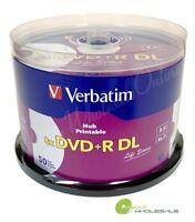 600 VERBATIM 8X Blank DVD+R DL Dual Double Layer 8.5GB White Inkjet Printable