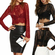 Stylsih Cropped Shirt Lace Mesh See Through Tee Blouse Long Sleeve Lady Crop Top