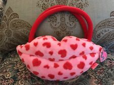"NEW Ty PinkyS Smooches Lips Pink Valentines Hearts Gift Bag Plush Purse 9""  #2B"