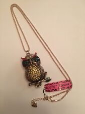 Betsey Johnson Yellow Crystal Enamel Owl Pendant Long Chain Necklace-BJ6608