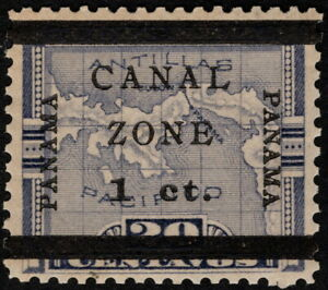 Canal Zone - 1906 - 1 Cent on 20 Cents Violet Overprinted Map Issue # 16b Mint
