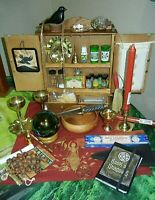 Wood Altar Cabinet Wicca Altar Tools Gazing Ball Cobra Athame BOS Brass MORE