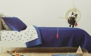 2 pc Pillowfort Navy Blue Triangle Stitch Twin Quilt & Sham Set NIP