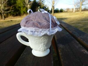 Vintage Milk Glass Tea Cup Pincushion