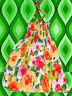 56✪  70er Jahre buntes BlumenMuster Neckholder Midi Kleid Hippie Boho Gr. S - M